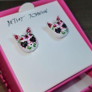 Betsey Johnson Sugar Skull Cat Stud Earrings